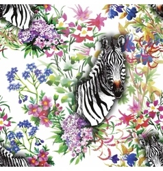 Zebra flowers Seamless pattern vector image