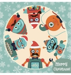 Hipster retro robots christmas card vector