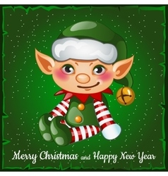 Cute and happy christmas elf vector