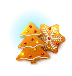 Christmas icons with gingerbread vector