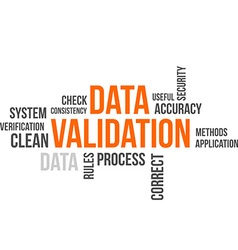 Word cloud data validation vector