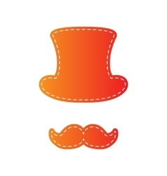 Hipster accessories design orange applique vector