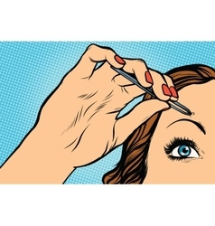 Woman plucking eyebrows depilating with tweezers vector