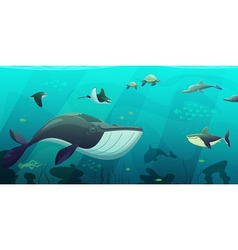 Underwater marine ocean life abstract banner vector