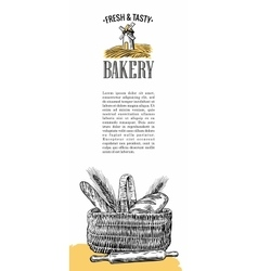 Bakery mill wheat ears rolls pastries bread vector