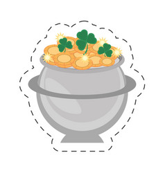 Cartoon steel cauldron gold coin st patricks day vector