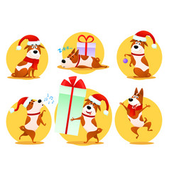 christmas cartoon dog emoticons emoji stickers vector image