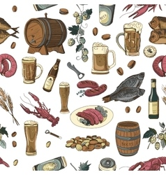 Colored beer hand drawing pattern vector image