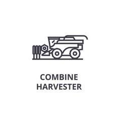 Combine harvester line icon outline sign linear vector