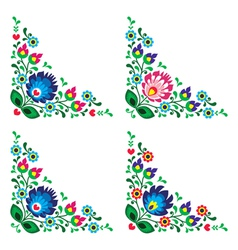 Corner border Polish floral folk pattern vector image
