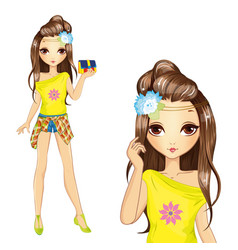 Cute Girl In Yellow Blouse vector image vector image