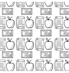 diploma and certicate graduation with apple fruit vector image