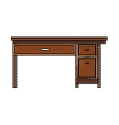 Drawing office desk wooden drawer handle furniture vector