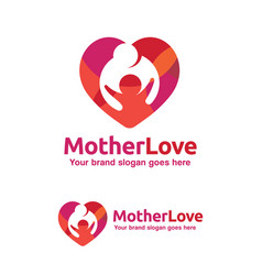 family love logo mother and child with heart vector image vector image