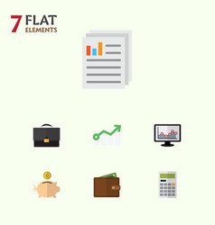 Flat icon incoming set of billfold money box vector