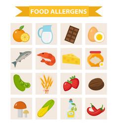 Food allergen icon set flat style allergy vector