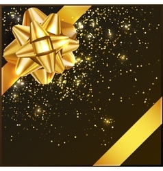 Gold Christmas Bow with confetti on gift box vector image