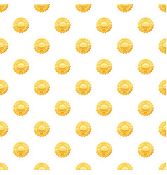 Gold medal with laurels pattern vector