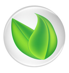 green plant leaves on a white round shield vector image vector image