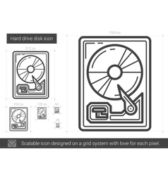 Hard drive disk line icon vector image vector image
