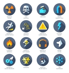 Hazard icons flat vector
