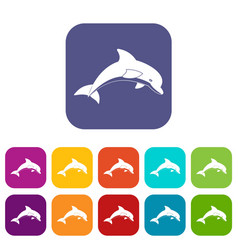 Jumping dolphin icons set flat vector