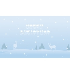 Landscape christmas deer with fog of silhouettes vector