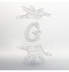 Letter g and hand of lines vector