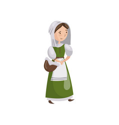 medieval maid in traditional dress cartoon vector image vector image