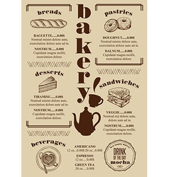 Menu bakery restaurant food template placemat vector