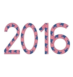 New year 2016 made of usa flags vector