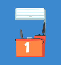 Red cash register terminal number one vector