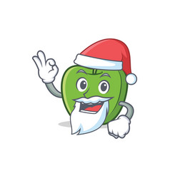 Santa green apple character cartoon vector
