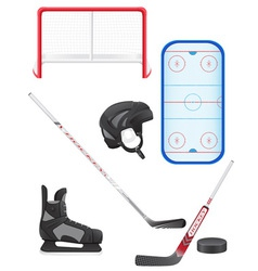 set of hockey equipment vector image vector image
