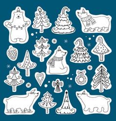 Set of icons of polar bears and christmas vector
