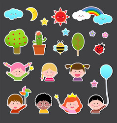 set of kids and cute nature element vector image