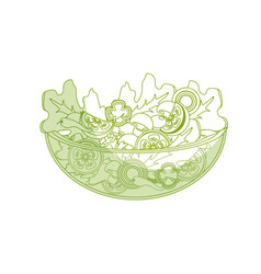 silhouette delicious fresh organ salad in the bowl vector image