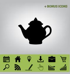 Tea maker sign black icon at gray vector