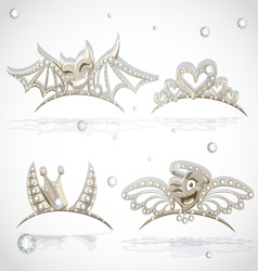 Tiaras with hearts for carnival costume vector image vector image