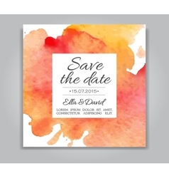 Wedding invitation card with watercolor vector