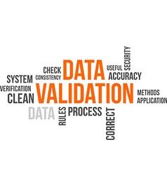 Word cloud data validation vector