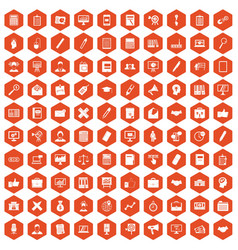 100 finance icons hexagon orange vector image vector image