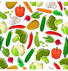 Fresh vegetables vegetarian seamless background vector