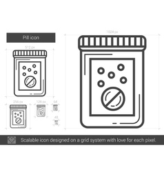 Pill line icon vector
