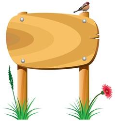 wooden sign grass bird1 vector image