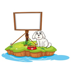 A puppy and the empty board in an island vector