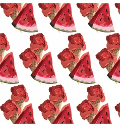 Watermelon slices and ice cream pattern vector