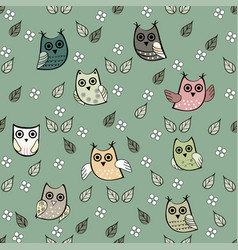Owl leaves seamless pattern owl vector