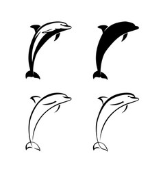 dolphin logo sign set isolated vector image