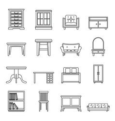 Set flat black line office and house furniture vector